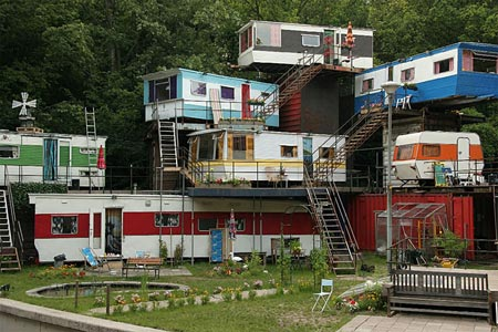 stacked up trailers like something out of Borderlands