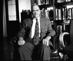 William Binney, former NSA analyst, sits in the offices of Democracy Now! in New York City during a 2012 discussion about the federal government and their access to citizens' private information.(Jacob Applebaum / Wikimedia Commons)