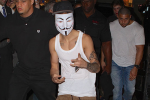 Bieber was seen wearing a Guy Fawkes mask in support of Anonymous.