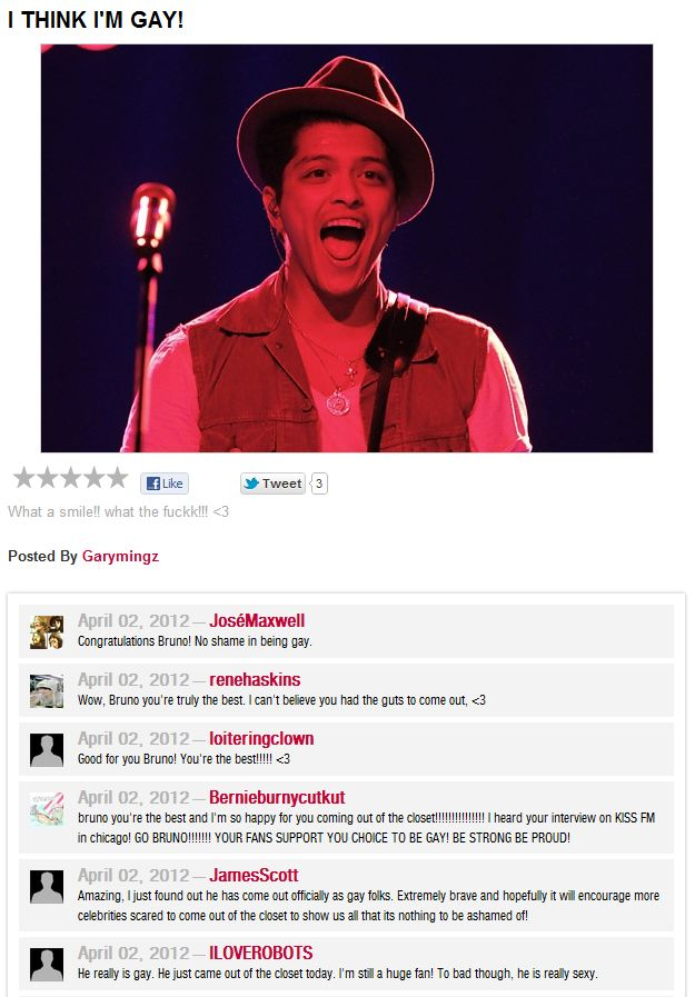Bruno Mars gay?
