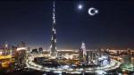 Artist's rendition of the artificial crescent moon over Dubai.