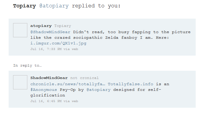fanboy Totallyfalse.info is an Anonymous Psy Op by Topiary