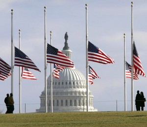 The nation mourns the President's death.