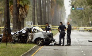 Investigators found traces of explosives in Hastings' wrecked car.