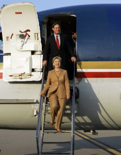 Hillary Clinton steps down from her taxpayer-funded Learjet during campaign of Hate.
