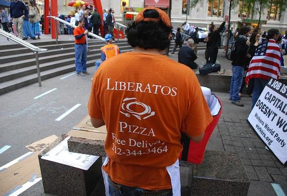liberatos Free pizza festival in Zucotti Park