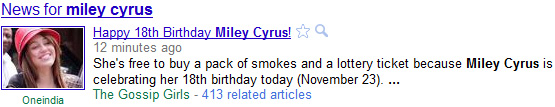 news for miley cyrus MILEY CYRUS TURNS 18, n00ds coming soon