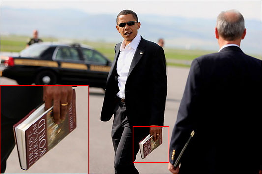 Obama seen here reading up on his Jihad