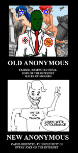"A polemic cartoon contrasts the no-prisoners humor of the ""Old Anonymous"" with the humorless ""New Anonymous."""