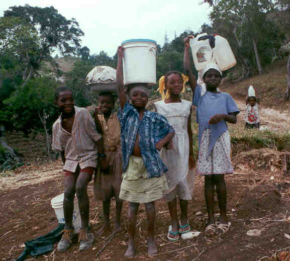 Haitians carry water for miles because no one has clean water. However, they completely lack sanitation so walking miles to get it makes no difference.