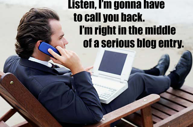A man blogs furiously
