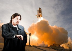 A man waits impatiently for the space shuttle to launch