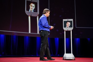 Snowden, at a TED talk, inside of a telepresence robot.