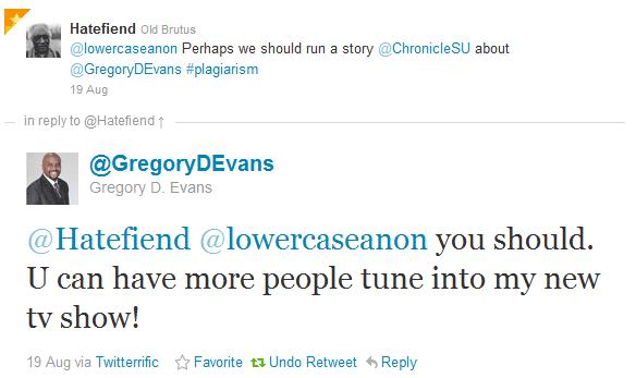 twittershot Joseph K Black plagiarizes Gregory D Evans