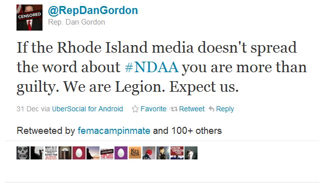 wearelegion RI State Representative Daniel Gordon Joins Anonymous